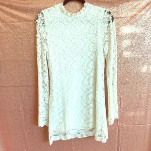 White lace, bell-sleeve mini dress